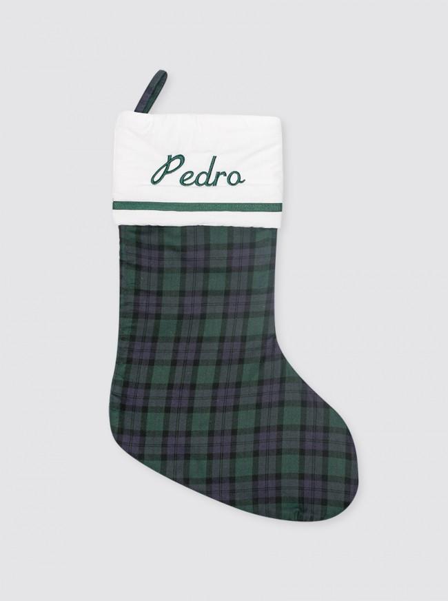 Calcetín Navidad Balmoral Marino y Verde