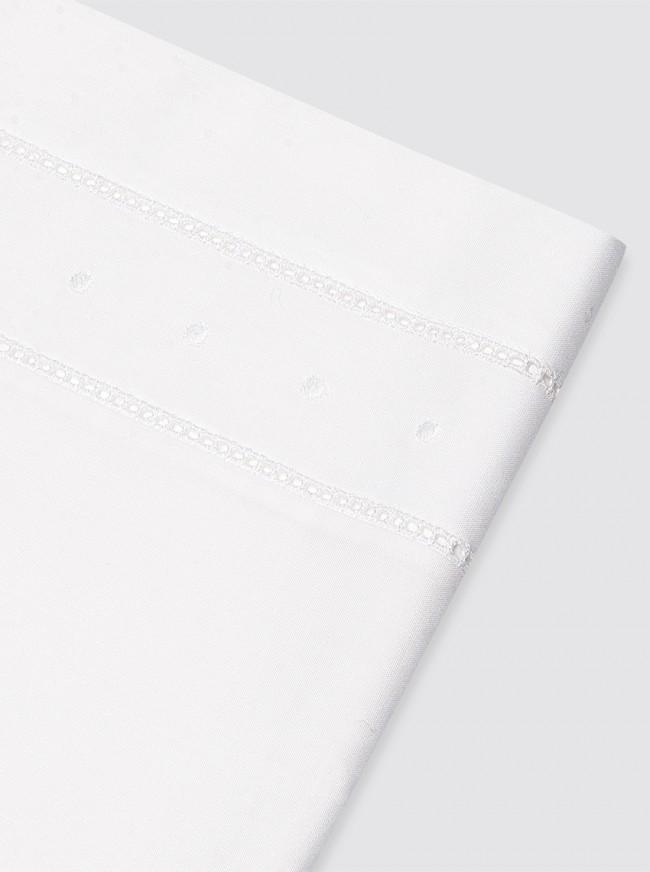Funda de Almohada Doble Vainica y Bodoques Blancos - 50x60cm