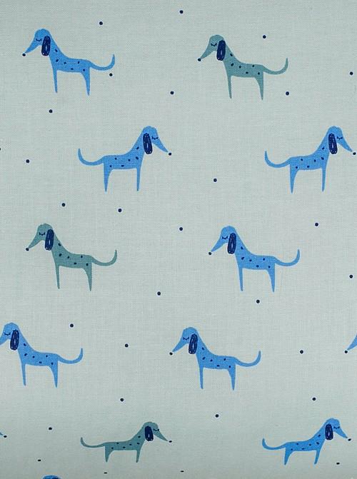 Escarpines Perritos Azul estampado