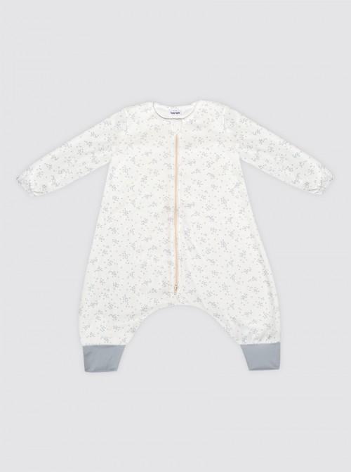 Pijama Burbuja con Mangas Florecitas Grises