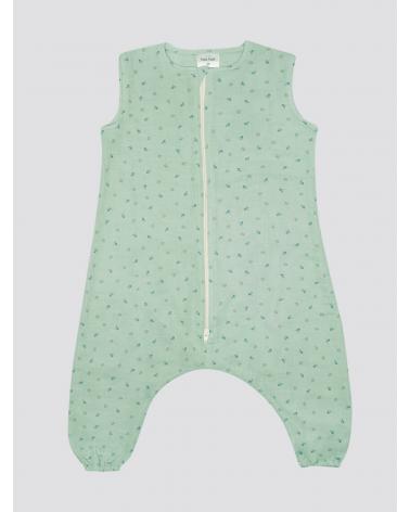 Pijama Burbuja Bambula Florecitas Verde