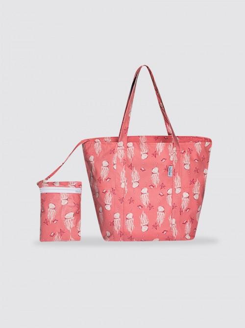 Bolsa de Playa Grande Medusas Rosa