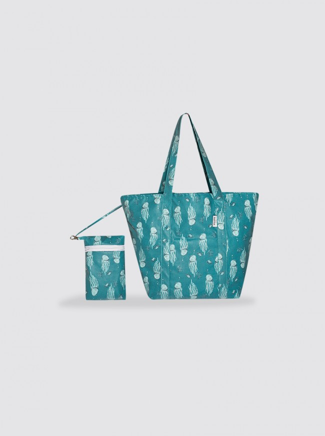 Bolsa de Playa Pequeña Medusas Verde