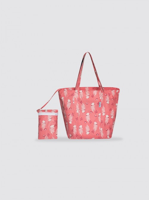 Bolsa de Playa Pequeña Medusas Rosa