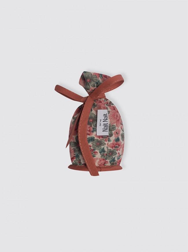 Portachupetes Lino Rústico Flores Verde y Caldera