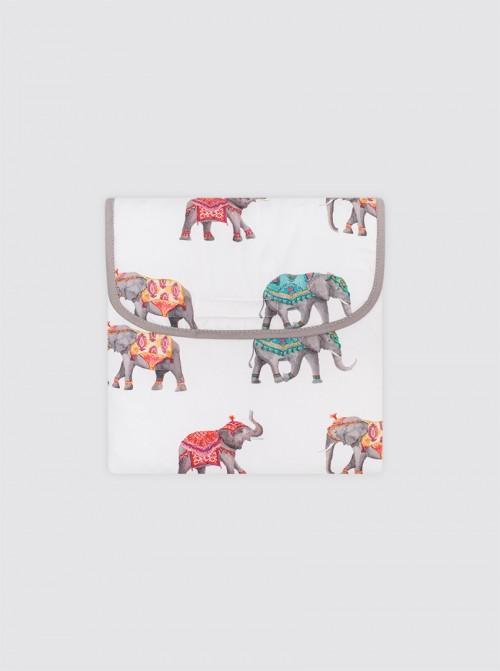 Cambiador con Bolsillos Elefantes Natural