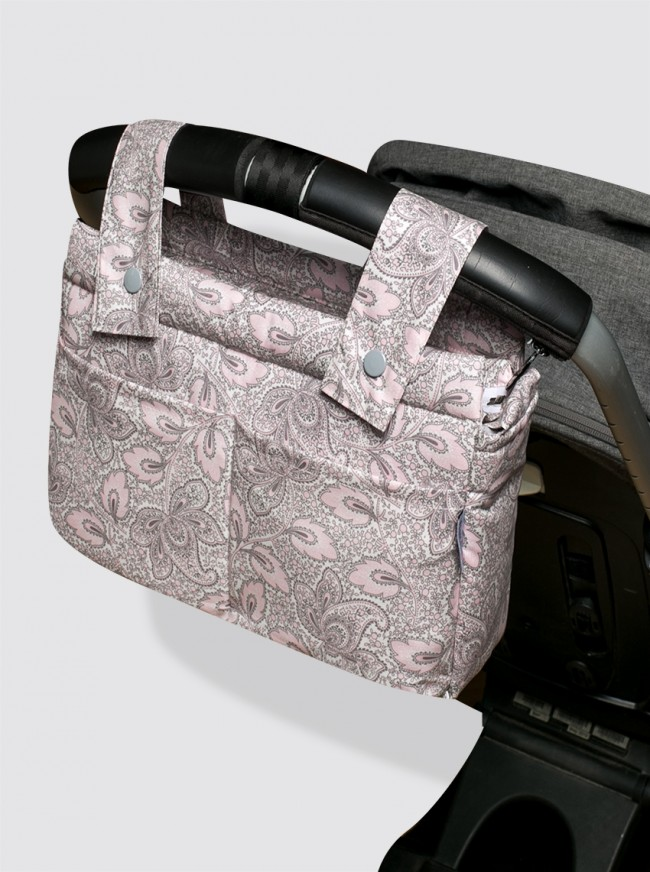 Bolsa de Carro Pequeña Impermeable Cachemir Rosa y Gris