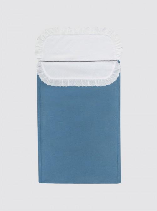 Saco de Punto Invierno Azulón con Sábana Plumeti- Capazo