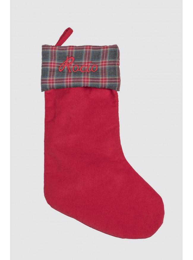 Calcetín Navidad Pana Rojo y Balmoral Gris
