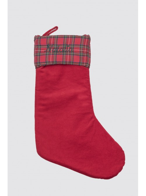Calcetín Navidad Pana Roja y Balmoral Rojo