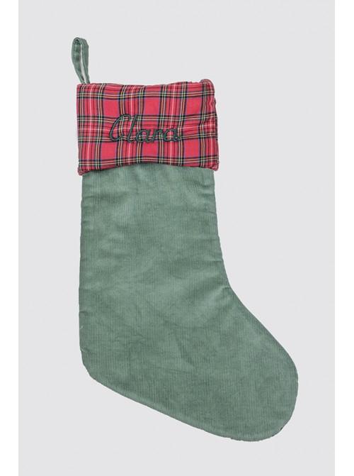 Calcetín Navidad Pana Verde y Balmoral Rojo