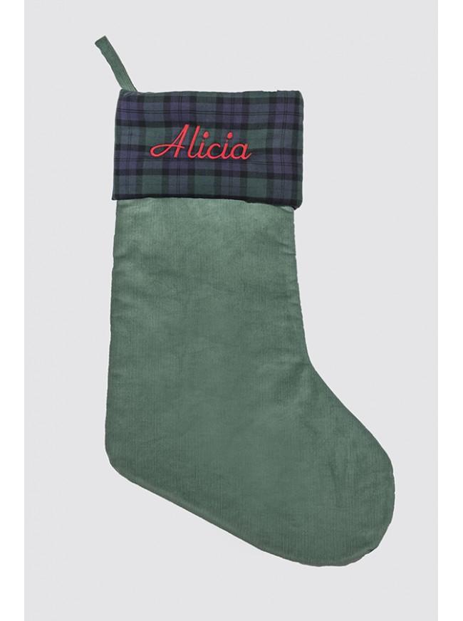 Calcetín Navidad Pana Verde y Balmoral Marino