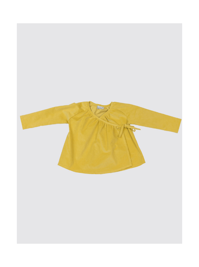 Camisa Cruzada de Pana Mostaza