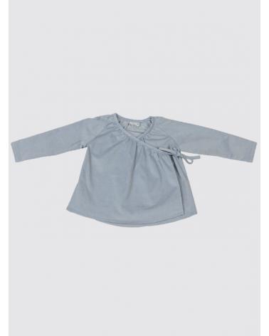 Camisa Cruzada de Pana Celeste