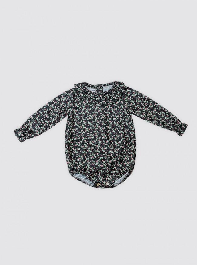 Camisa-Body Flores Negra