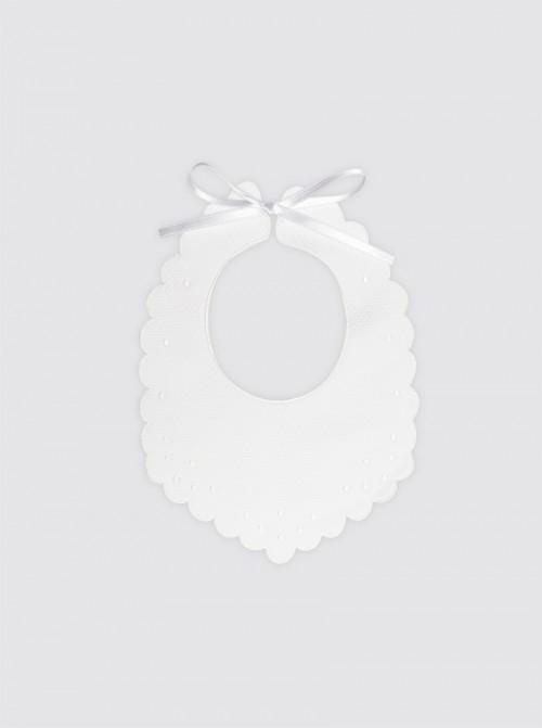Babero de Baba Pique Blanco Con Bodoques Bordados