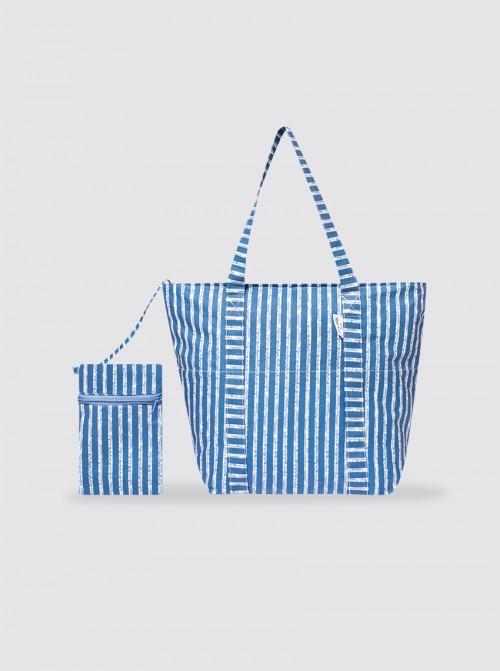 Bolsa de Playa Grande Rayas Azul