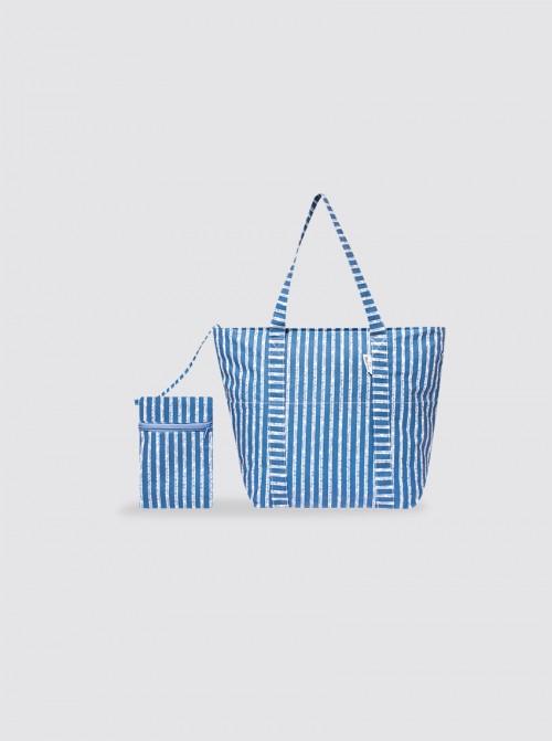 Bolsa de Playa Pequeña Rayas Azul