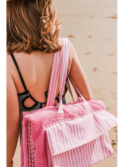 Toalla playa niños raya rosas