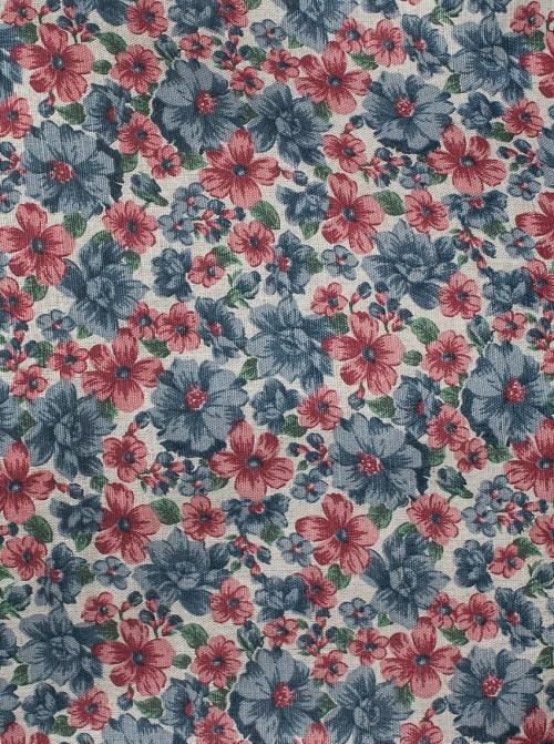 Portachupetes Lino Rústico Flores Azul y Rojo